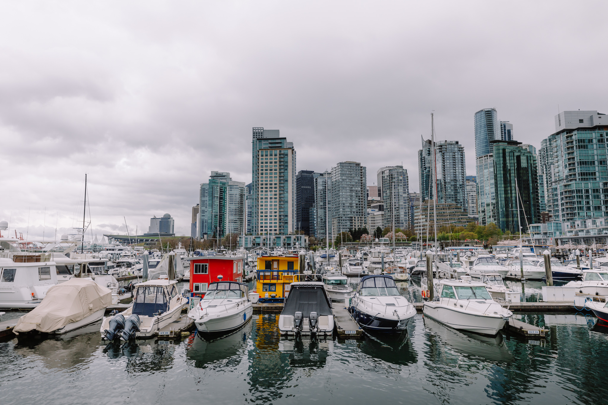 Vancouver on a grey day with colourful houseboats