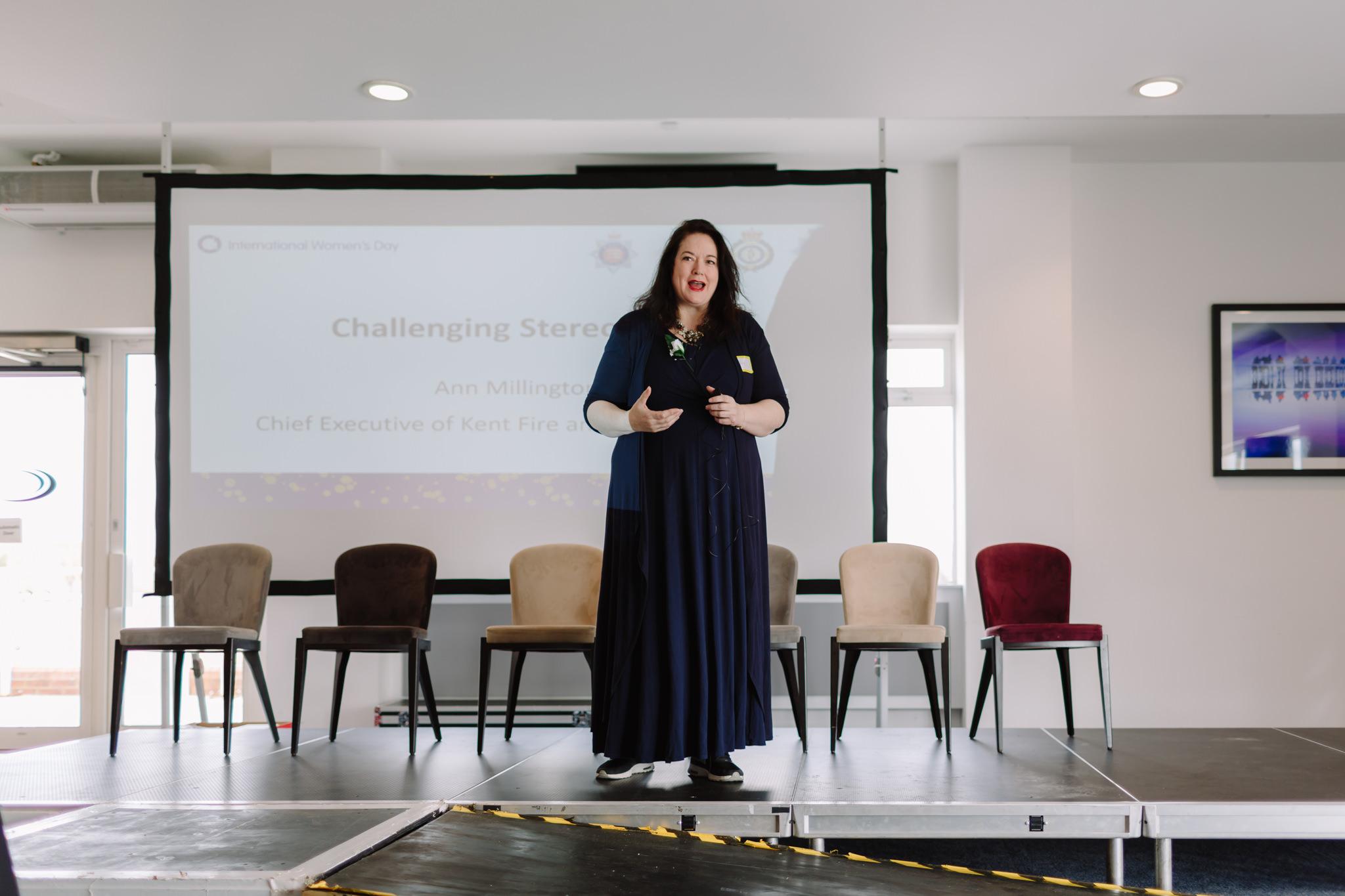 ann millington speaking at international women's day conference