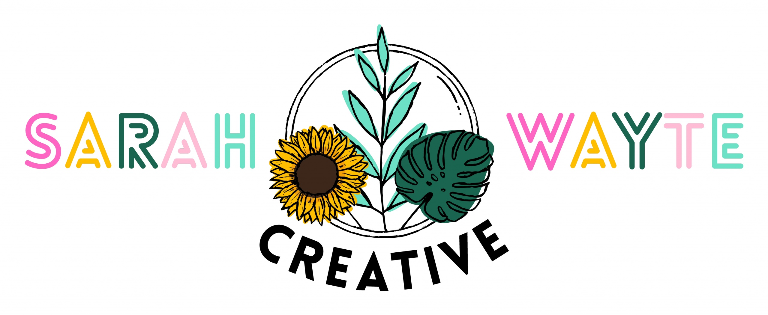Sketched logo with the words Sarah Wayte Creative around it