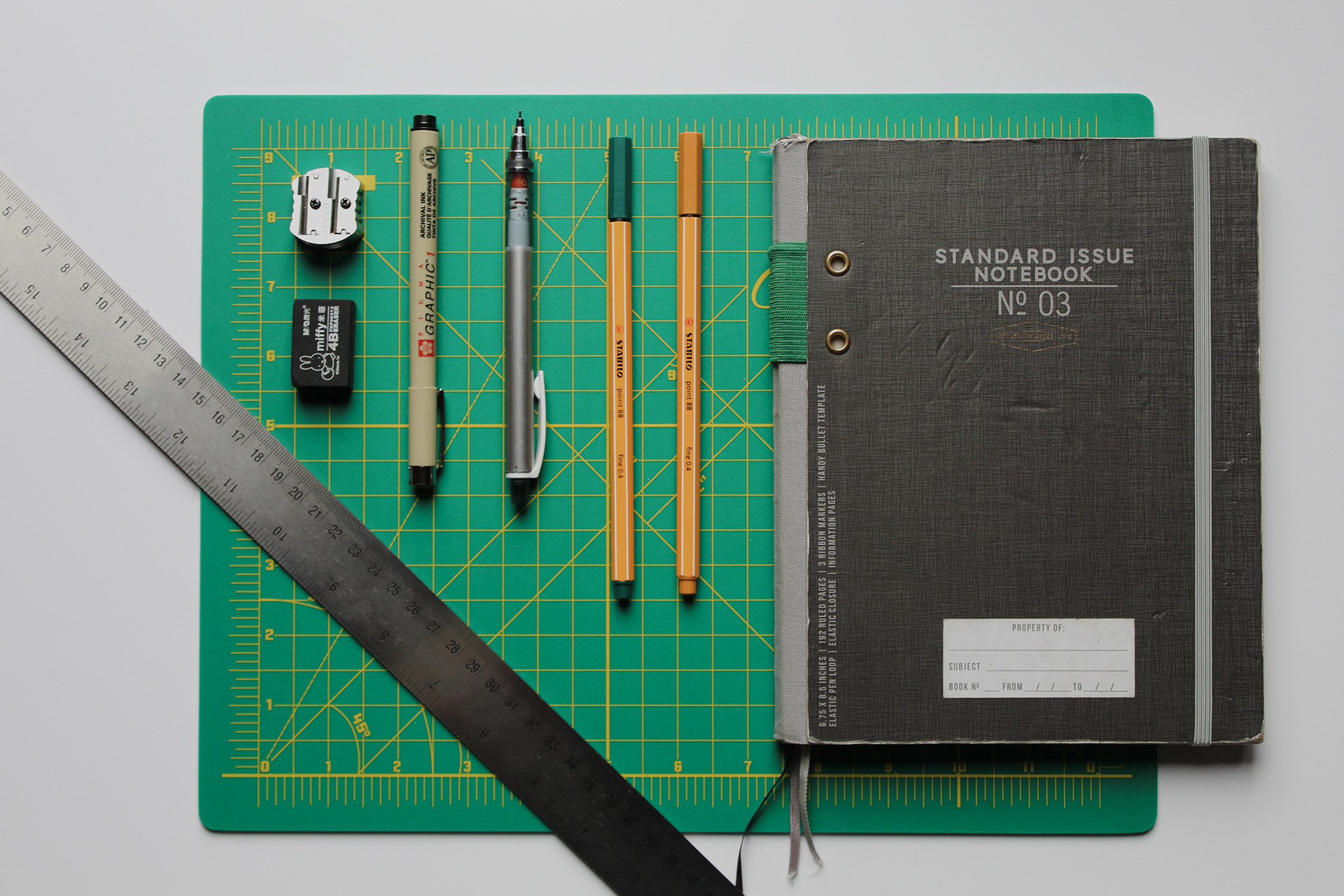 writing tools laid out on desk